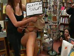 gorgeous slut gets humiliated in a book store