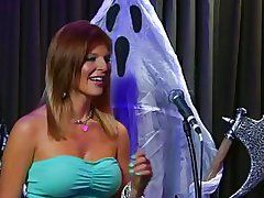 sexually intrigued chicita with giant apples on halloween show