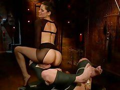 tied blonde cougar dominated and face fucked by her mistress