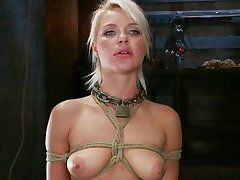 beautiful blonde hanging fastened up is drilled
