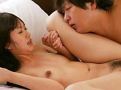 moist Japanese woman is setting the bed on fire