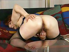 mature old women playing with she is
