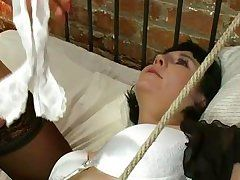 boobsy golden-haired t-girl playing with a fastened hotty