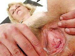 calm blonde nurse playing with dick at the work