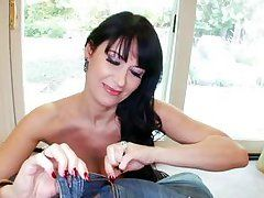 brunette cougar is in a sexy ebony outfit and seducing her man