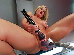 blonde seasoned solo with her fucking machine and vibrator