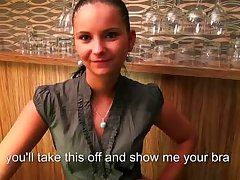 thin waitress gives head in a pub for cash