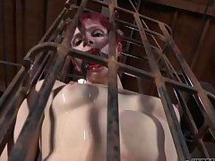mouth gagged in a small cage